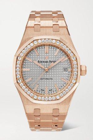 Audemars Piguet | Royal Oak Automatic 37mm 18-karat pink gold and diamond watch | NET-A-PORTER.COM