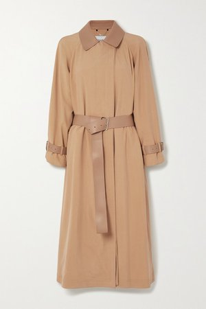 Belted Leather-trimmed Silk Trench Coat - Beige