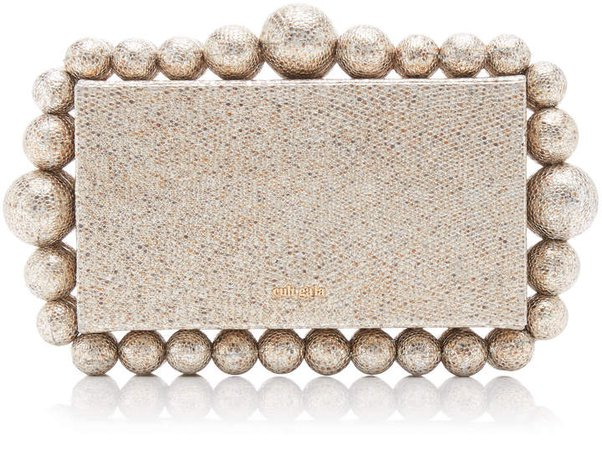Cult Gaia Eos Woven Leather Clutch