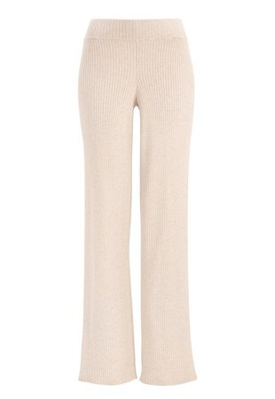 Make Way Theodora knitted pants Beige melange - Bubbleroom
