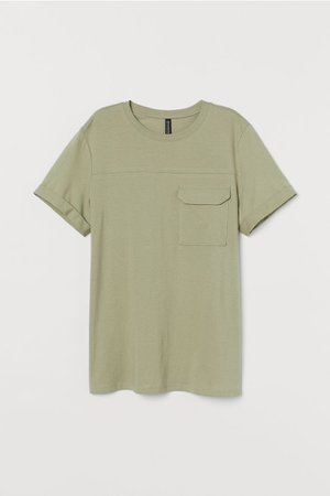 Straight-cut T-shirt - Light khaki green - Ladies | H&M US