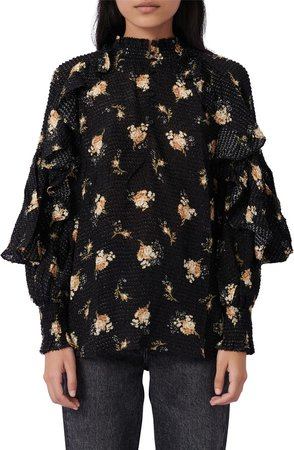 Floral Ruffle Long Sleeve Top