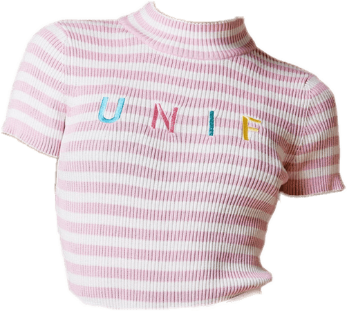 Pink & White Striped 'UNIF' Crop Top