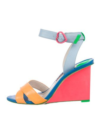 Sophia Webster Color Block Wedge Sandals - Shoes - W9S22789 | The RealReal