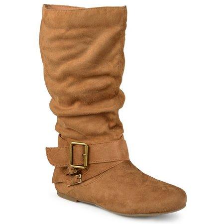 brown Brinley Co. - Brinley Co. Wide-Calf Buckle Mid-Calf Slouch Boots (Women's) - Walmart.com - Walmart.com
