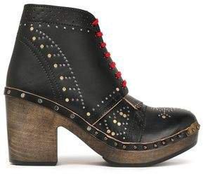 Atrim Studded Perforated Leather Ankle Boots