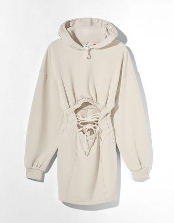 Lace-up hoodie dress - Dresses - Woman | Bershka