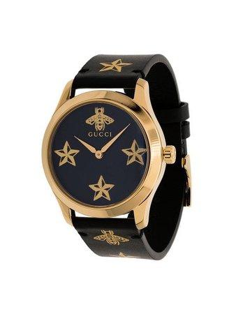 Gucci Star Motif Leather Watch YA1264055A Black | Farfetch