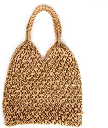 Women's Straw Handbags Large Summer Beach Bag Tote Woven Shoulder Bag Round Handle Mesh Bag for Women(brown)
