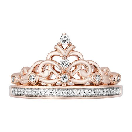 Enchanted Disney Fine Jewelry Womens 1/6 CT. T.W. Genuine Diamond 10K Rose Gold Over Silver Crown Disney Princess Cocktail Ring - JCPenney