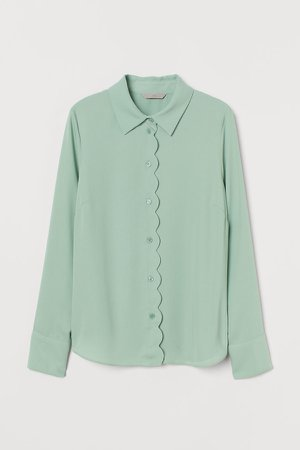 Scalloped-edge Blouse - Green