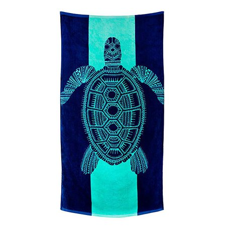 Amazon.com: Nova Blue Turtle Beach Towel - Tropical Blue Colors With A Unique Fun Design Extra Large (62x33) Made From 100% Cotton For Kids & Adults: Home & Kitchen