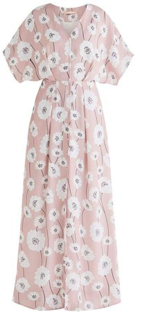 Athens Maxi Floral Dress In Pink Floral Print