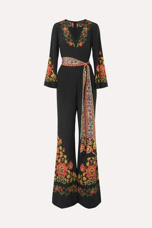 Printed Silk Crepe De Chine Jumpsuit - Black