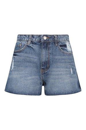 Side Split Jean Shorts | boohoo