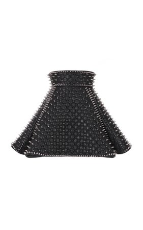 Balmain Leather Quilted Spike Skirt