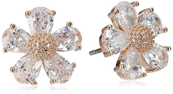 Betsey Johnson Crystal Flower Stud Earrings: Jewelry