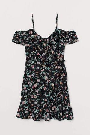 Open-shoulder Dress - Black