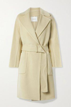 Beige Belted brushed wool-blend coat | Vince | NET-A-PORTER