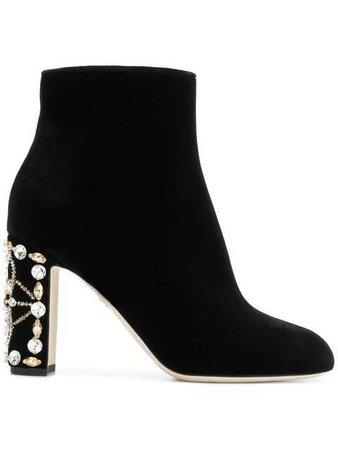 Dolce & Gabbana Embellished Heel Ankle Boots - Farfetch