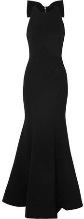 Love Bow Halterneck Crepe Gown - Black
