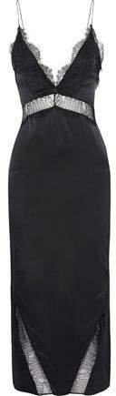 Lace-trimmed Silk-charmeuse Midi Dress