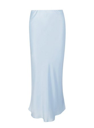 Blue Slip Satin Midi Skirt With Recycled Polyester   Miss Selfridge