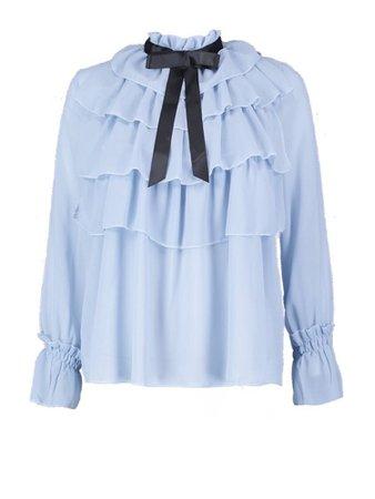 Blue ruffle black bow blouse