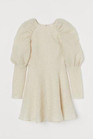 Puff-sleeved Dress - White