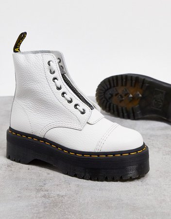 Dr Martens Sinclair flatform zip leather boots in white | ASOS