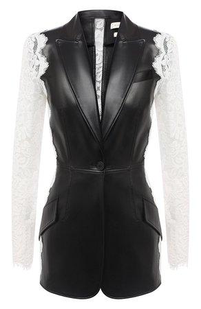 Женский черно-белый кожаный жакет ALEXANDER MCQUEEN — купить за 349500 руб. в интернет-магазине ЦУМ, арт. 610853/Q5AEW