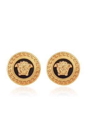 Gold-Tone Clip Earrings By Versace | Moda Operandi
