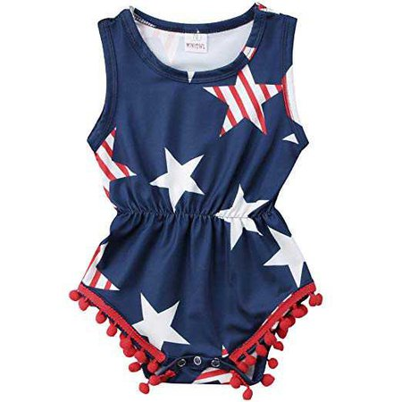Amazon.com: ONE'S Baby Girls 4th of July Outfits USA Flag Stars Tassel Ball Romper Jumpsuit: Baby