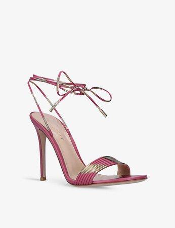 GIANVITO ROSSI - Yuma metallic leather heeled sandals | Selfridges.com