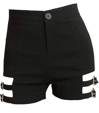 black cutout shorts