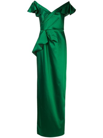 Marchesa Notte, Ruffled Fitted Long Dress