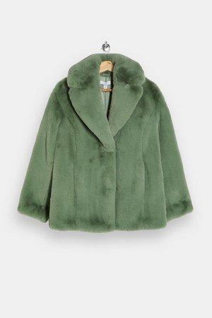 Sage Two Tone Faux Fur Jacket | Topshop