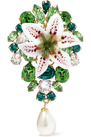 Dolce & Gabbana | Lilium gold-tone, resin, crystal and faux pearl brooch | NET-A-PORTER.COM
