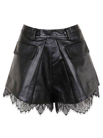 self-portrait Faux Leather Pleat Shorts