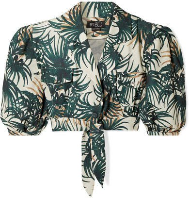 PatBO - Palm Cropped Tie-front Printed Woven Top - Emerald