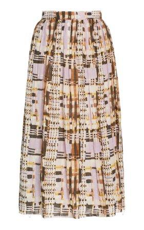 Nerea Pleated Plaid Linen Midi Skirt By Alexis   Moda Operandi
