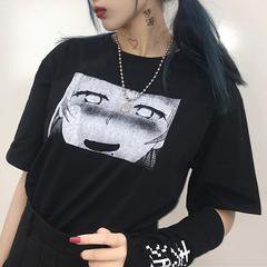 itGirl Shop | ANIME COMIC PRINTED BLACK T-SHIRT WITH SLEEVES