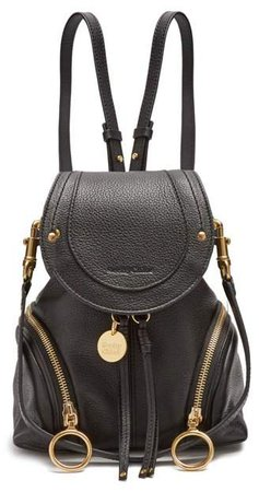 Olga Grained Leather Backpack - Womens - Black