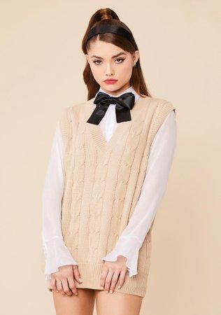 V-Neck Oversized Knit Sweater Vest - Brown | Dolls Kill