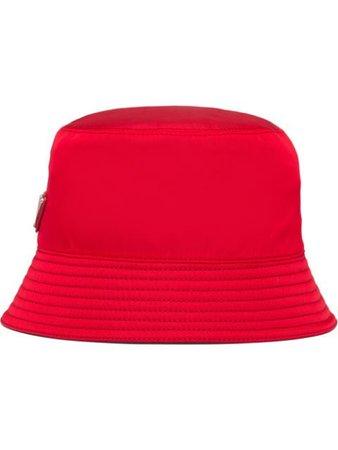 Prada logo plaque bucket hat red 1HC1372B15 - Farfetch