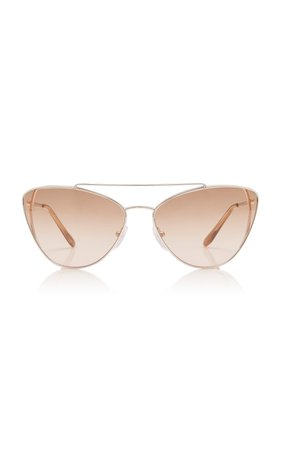 Prada Cat-Eye Silver-Tone Sunglasses