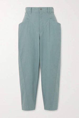 Gubaia Cropped Cotton Tapered Pants - Gray green