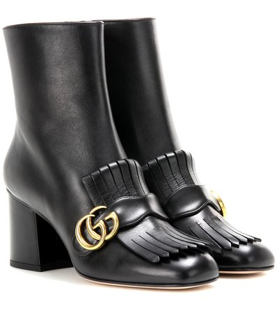 Gucci - Embellished leather ankle boots | Mytheresa