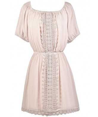 Blush Cream Crochet Lace Dress, Cute Peasant Dress, Cute Sundress, Beige Summer Dress Lily Boutique