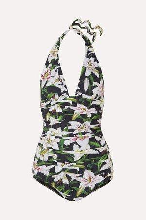 Ruched Floral-print Halterneck Swimsuit - Black